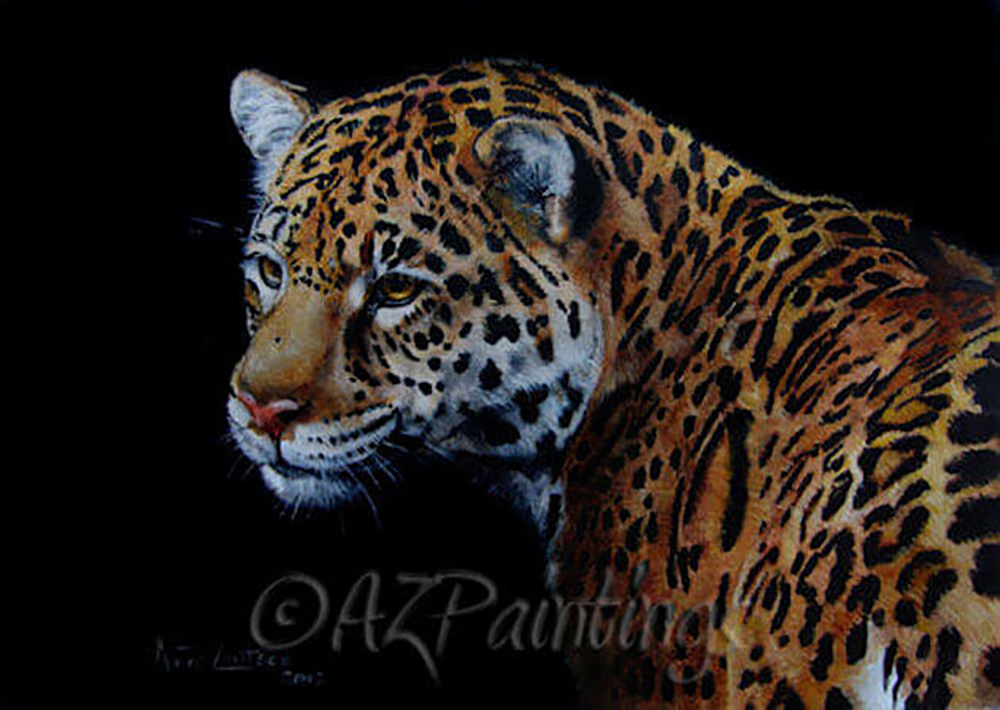 An oil painting of a Jaguar