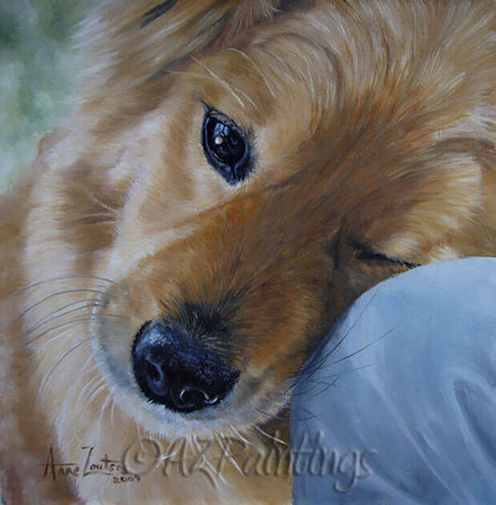 An oil painting of a dog snuggling up to its owners leg