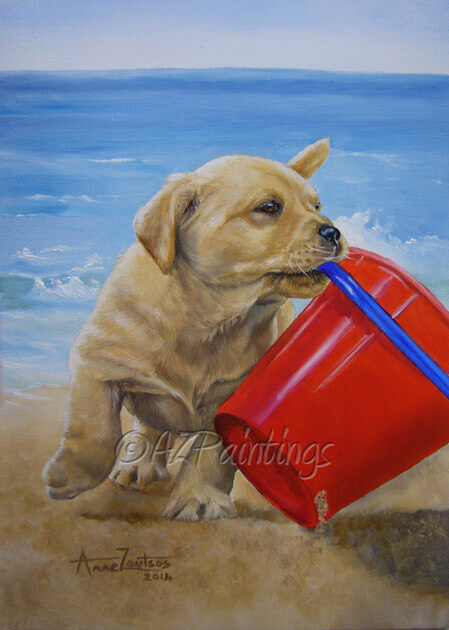 Beach Fun Labrador puppy oil painting