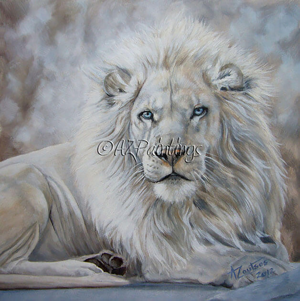 White lion oil painting
