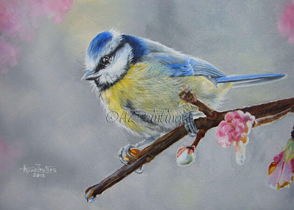 An oil painting of a blue tit on a tree branch