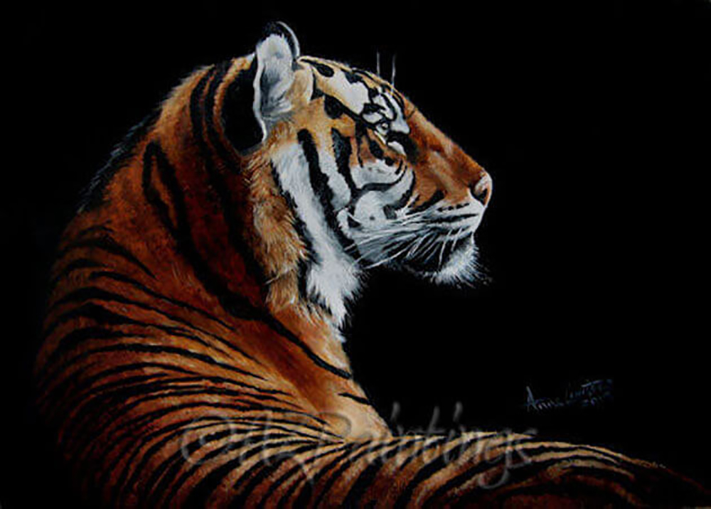 Burning Bright - an oil painting of a tiger