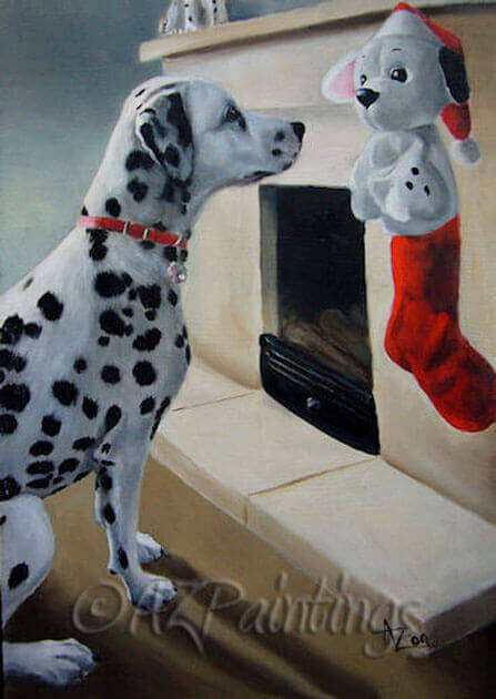 An oil painting of a Dalmatian looking at a Christmas toy