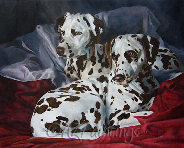 An oil painting of two Dalmatians lying on a comfortable bed