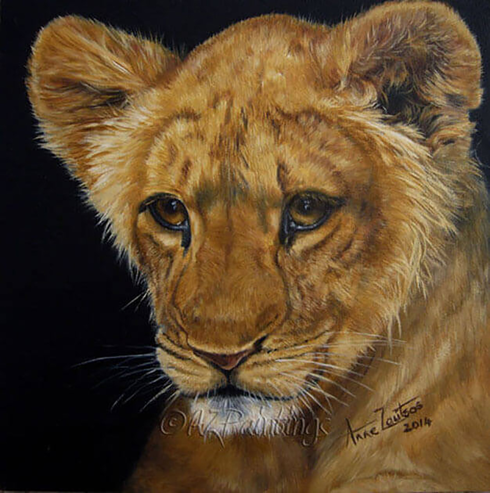 Heir Apparent  - an original oil painting of a young lion