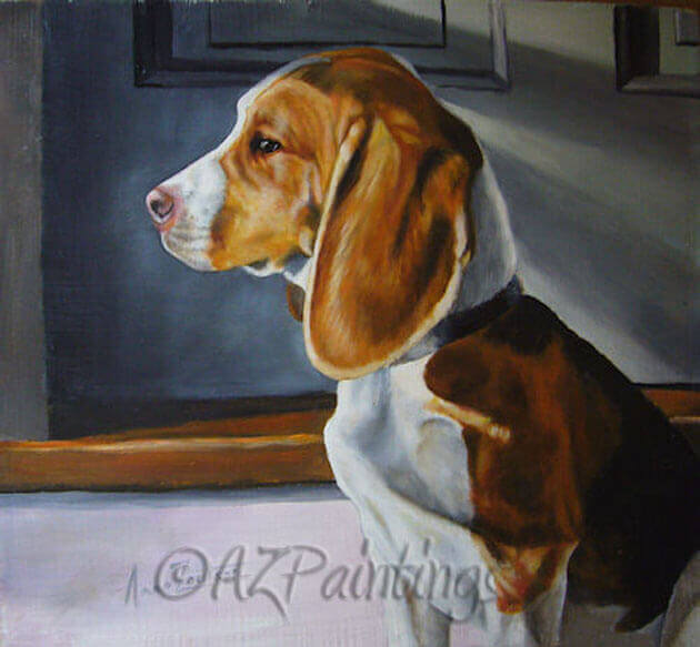 An oil painting of a beagle watching the sunrise