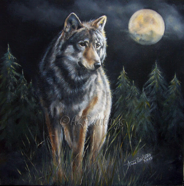 Hunter's Moon - an oil painting of a wolf in the moonlight