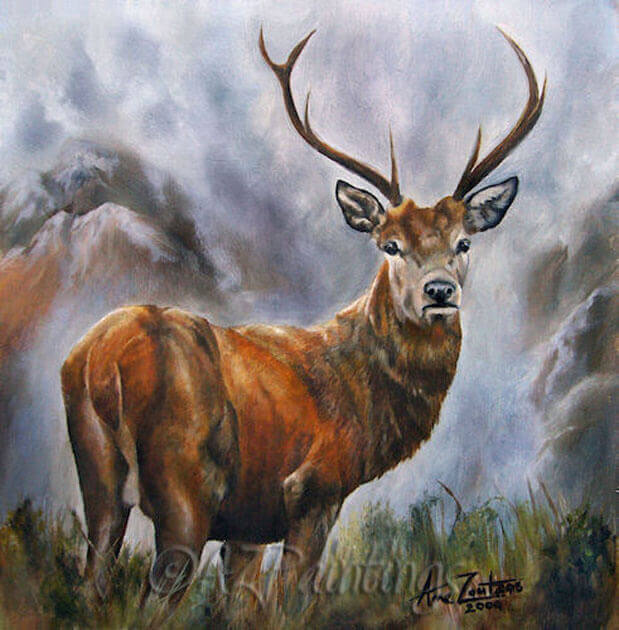 King Of The Glen - an oil painting of a red deer stag