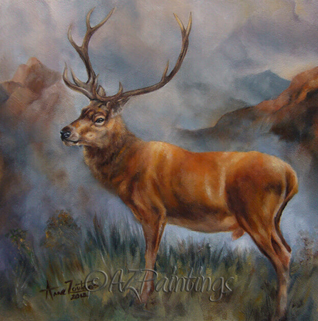 Prince of the Highlands - an oil painting of a red deer stag in Scotland