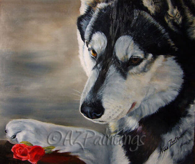 An oil painting of a Siberian Husky and rose