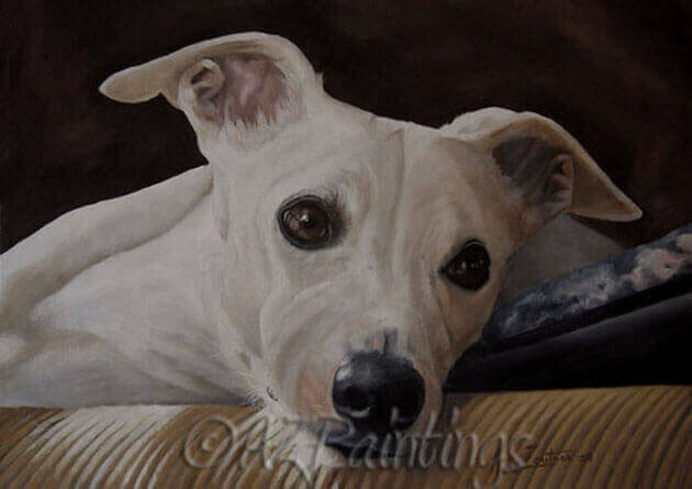 An oil painting of a whippet
