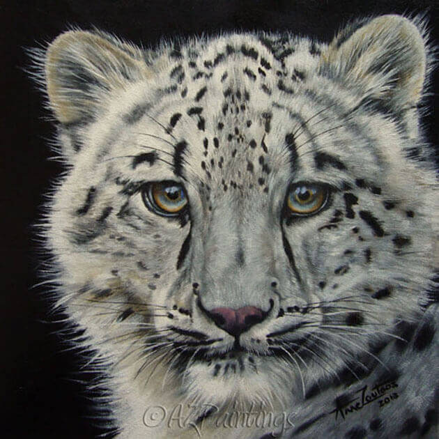 An oil painting of a snow leopard