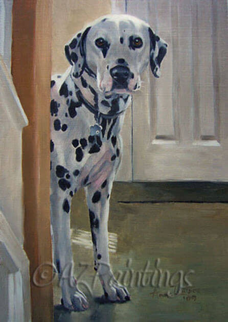 An oil painting of a Dalmatian being spotted having come downstairs from the bedroom
