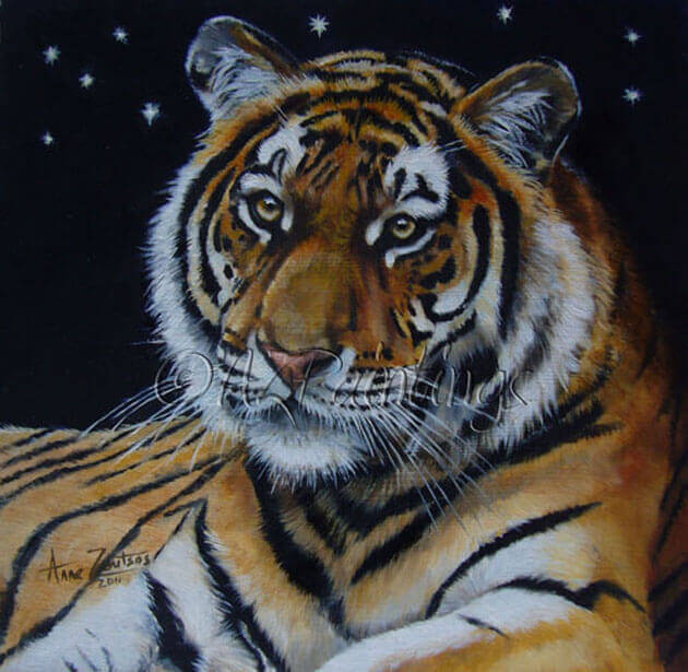 Stars and Stripes - an oil painting of a tiger