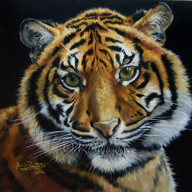 An original oil painting of a young tiger