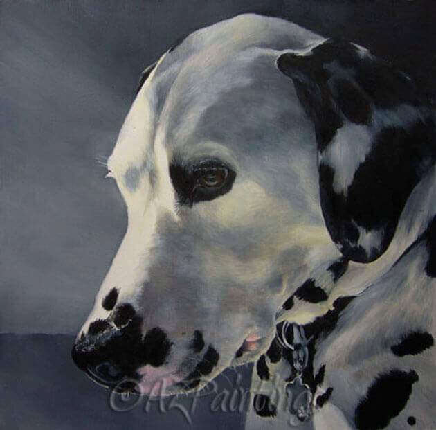 An oil painting of a tranquil Dalmatian