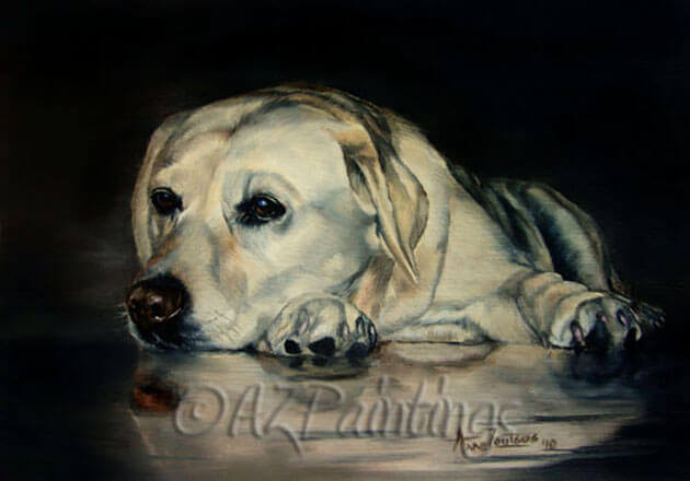 A painting of a yellow labrador and its reflection
