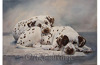 An oil painting of two Dalmatian puppies