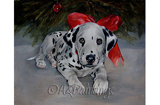 A Dalmatian puppy with a big red bow