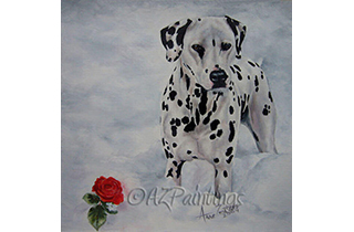 An oil painting of a Dalmatian and rose in the snow