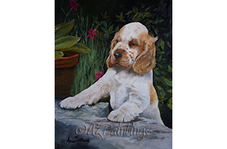An oil painting of a cocker spaniel puppy