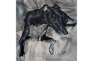 An oil painting of a lurcher