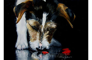 An oil painting of a Jack Russell Terrier sniffing at a broken heart