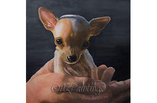An oil painting of a chihuahua puppy cradled in a hand