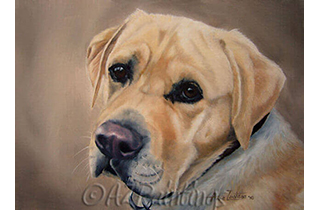 An oil painting of a yellow labrador
