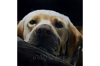 An oil painting of a mellow yellow labrador retriever