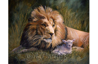 An oil painting of a lion and lamb