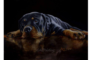 An oil painting of a rottweiler and its reflection