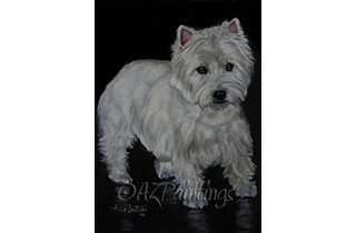 An oil painting of a west highland white terrier and its reflection