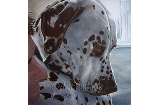 An oil painting of a Dalmatian being cuddled