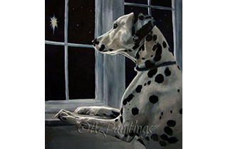 An oil painting of a Dalmatian gazing at a star