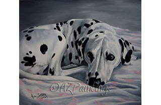 An oil painting of a Dalmatian on a bed