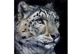 Snow and Fire - an oil painting of a snow leopard