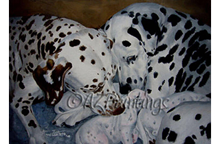 An oil painting of a Dalmatian with her puppies and her mother