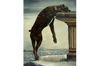 An oil painting of a boxer dog drinking from a drinking fountain