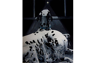An oil painting of two Dalmatians on the night before Christmas