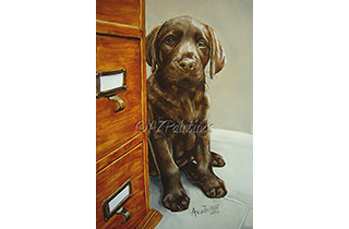 The Office Junior - an oil painting of a chocolate labrador puppy peeping round a filing cabinet
