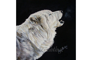 Snow and Fire - an oil painting of a white wolf howling
