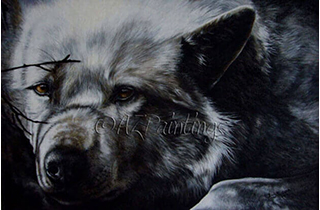 The Wolf - an original oil painting of an Arctic Wolf