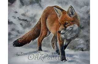 An oil painting of a fox in snow